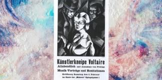 Posterul deschiderii Cabaretului Voltaire, 5 februarie 1916, Zürich, litografie de Marcel Slodki