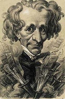 Hector Berlioz, caricatură de Étienne Carjat, 1858. Desen cu creion din cărbune de salbă-moale, retuşat, pe hârtie galbenă
