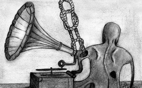 """""""Ecouri înnodate"""", ilustrație de Rudy Roth la volumul """"Ultimele noduri"""" de Mircea Albulescu, Iași, Editura Ars Longa, 2010"""
