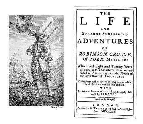 """""""Robinson Crusoe"""", ediția princeps, 1719"""