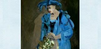 "Adina Romanescu, ""Arlechin"", ulei pe pânză, 80x80 cm, 2006"
