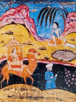 """O miniatură care arată trecerea lui Leylâ prin fața Mecnûn (""""Miniaturi orientale"""", Tașkent 1980, p. 59). Sursa foto: islamansiklopedisi.org.tr"""
