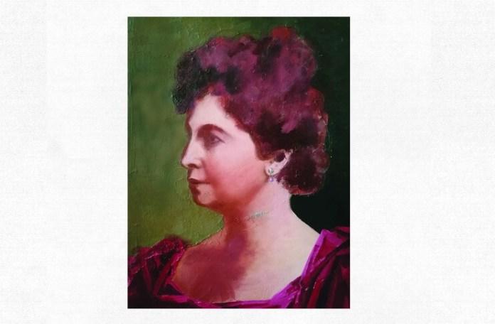 Hariclea Darclée, portret de Adina Romanescu (detaliu), ulei pe pânză. Inedit
