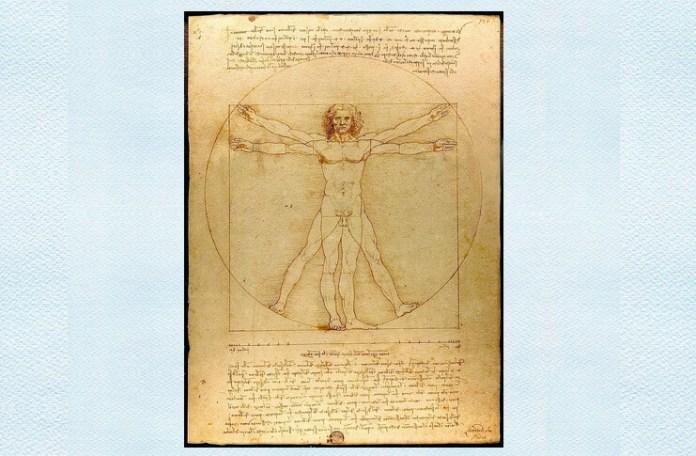 """Leonardo da Vinci, """"Omul vitruvian"""", cerneală de peniță argintie lustruită pe hârtie, c. 1490, Gallerie dell'Accademia, Veneția"""