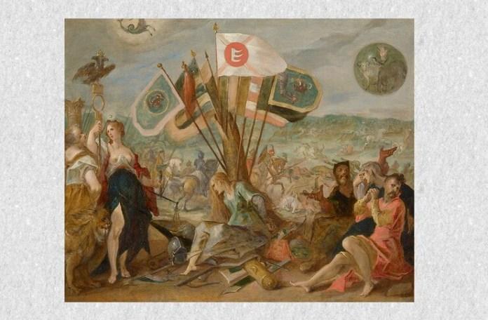 Hans von Aachen, Alegoria războiului cel Lung, Bătălia de la Guruslău. Centru: Discordia, ţinând unele din cele 110 de steaguri capturate de Mihai Viteazul şi Basta (stânga: Moldova, dreapta: Odorhei, centru: steagul lui Báthory). Dreapta: Prizonieri transilvăneni aşezaţi sub un scut rotund cu simboluri transilvănene: o mână, o pasăre, un măgar, o oaie. Stânga: Diana, ţinând o suliţă cu vulturul bicefal imperial, sub Scorpion, semnul astrologic al împăratului Rudolf al II-lea de Habsburg. 1603–1604. Sursa: Wikipedia