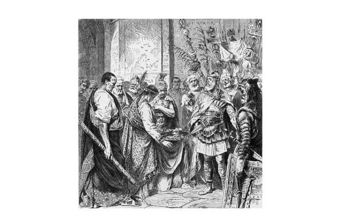 Romulus Augustulus dându-i coroana lui Odoacru, gravură de autor necunoscut, secolul al XIX-lea