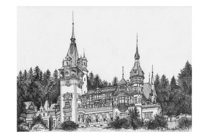 Castelul Peleș, desen de Bogdan Calciu, 2014