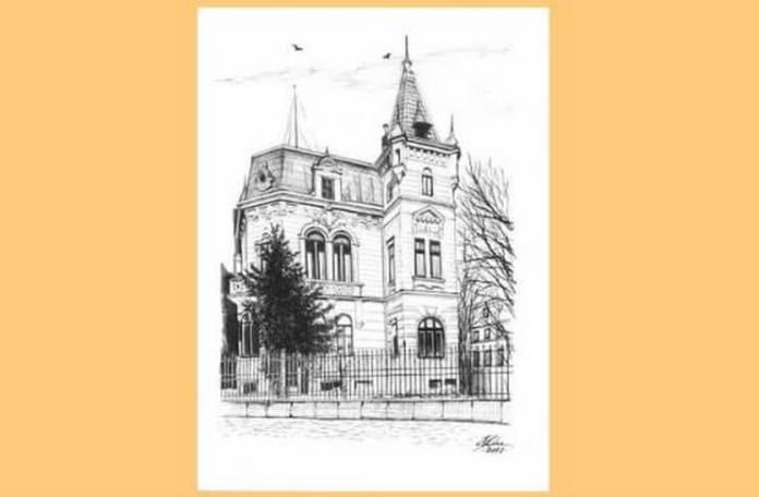 Societatea de Difuziune Radiotelefonică din România (numele de până în 15 august 1936 al Radioului românesc), clădirea veche Radio din str. G-ral Berthelot nr. 60. Desen de Bogdan Calciu
