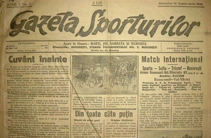 """Primul număr al """"Gazetei Sporturilor"""" (14 septembrie 1924) – Revista  Culturală Leviathan"""