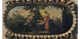 """""""Isus și samariteana"""", icoană de Nicolae Grigorescu, Mănăstirea Căldărușani"""