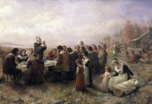"Jennie Augusta Brownscombe, ""Prima Thanksgiving la Plymouth"", 1914, Pilgrim Hall Museum, Plymouth, Massachusetts"