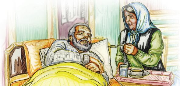 "Hz. Eyyüb și soția sa Rahîme Hatun. Imagine din povestea ""Piatra răbdării"" Sursa foto: nkfu"