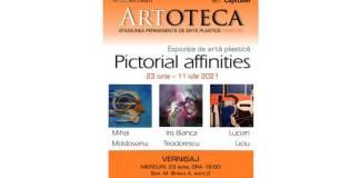 Afiș - Pictorial affinities, expoziţie inedită găzduită de Artoteca Bibliotecii Metropolitane Bucureşti