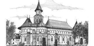 Biserica Mănăstirii Putna, desen de Bogdan Calciu, 2014