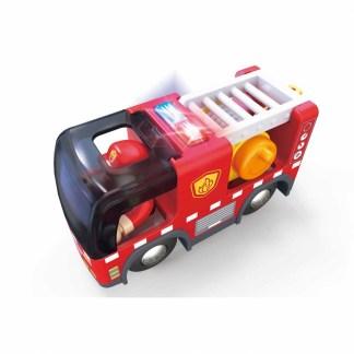 Fire Truck with Siren for Wooden Railway (Hape E3737) | LeVida Toys