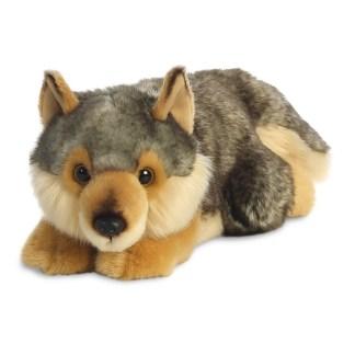 MiYoni Wolf Lying 11 Inch soft toy by Aurora | LeVida Toys