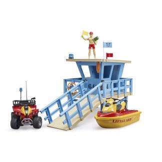 Bruder BWorld Lifeguard Station with Quad & Water Craft - LeVida Toys
