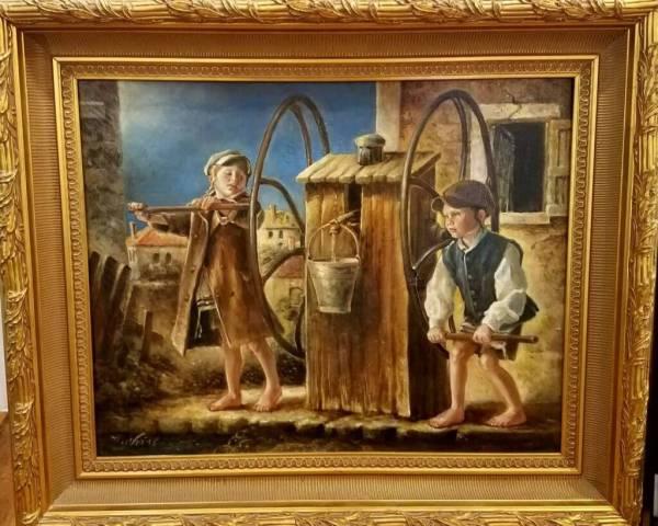 """ Children"" Weiss Oil Canvas Framed 24 30"
