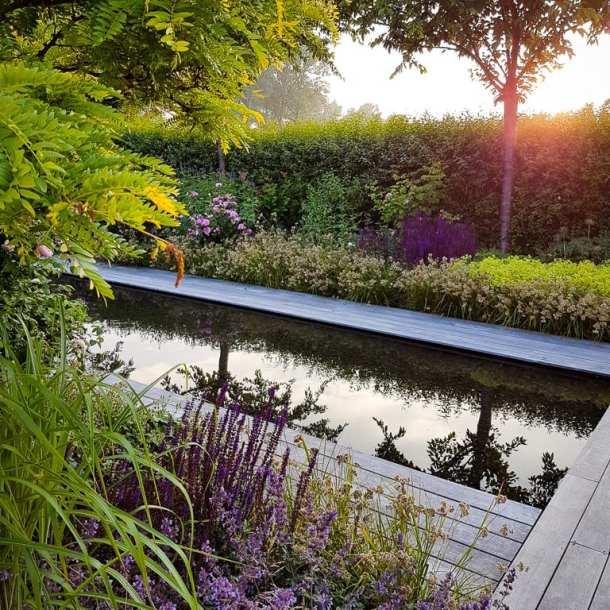 Spegeldamm i lummig trädgård, ritad av trädgårdsdesigner Ulrika Levin. Skapar magisk stämning i trädgården.