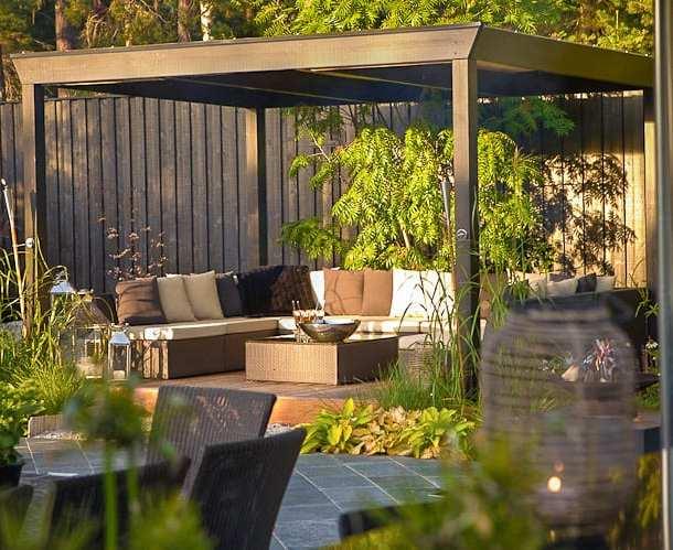 Inbjudande uteplats under tak. Designad av Ulrika Levin, Levins Trädgård & Design