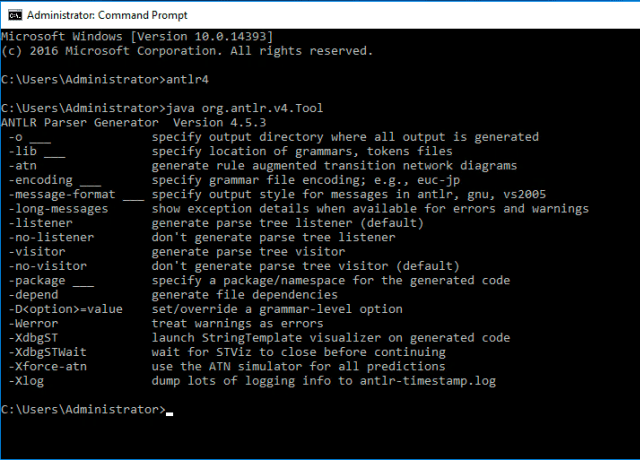 Output of antlr4 command