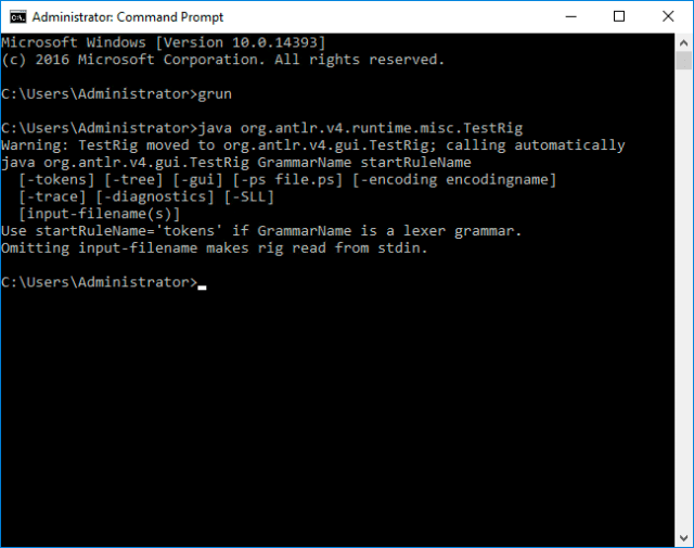 Output of grun command