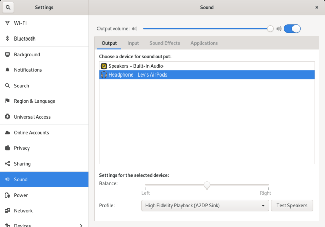 Sound Settings in GNOME