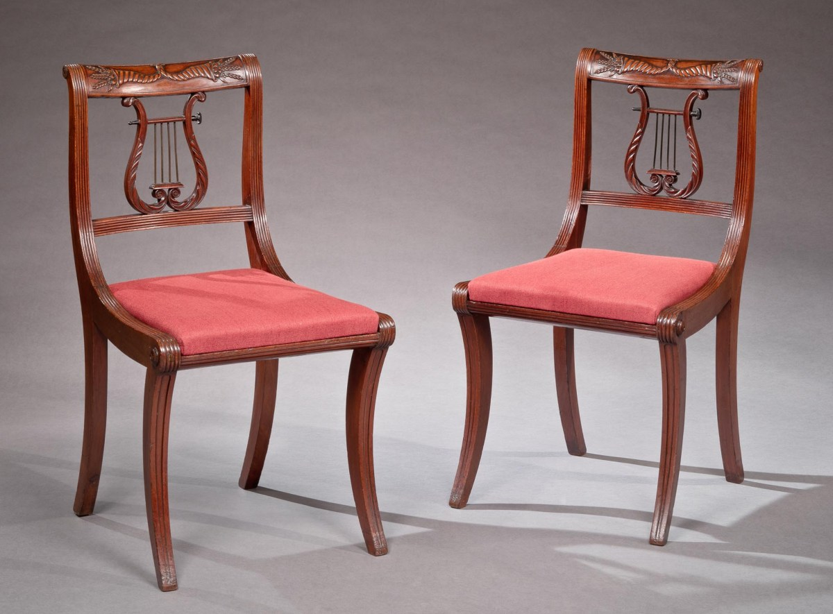 Lyre Back Chairs Set Of Four Lyre Back Federal Side Chairs Bernard And S