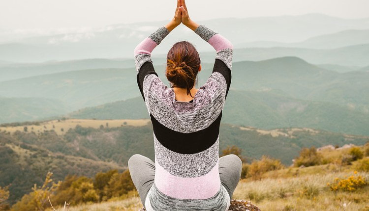 Woman Doing Yoga In Nature. Yoga In Nature. Yoga Lifestyle. Heal