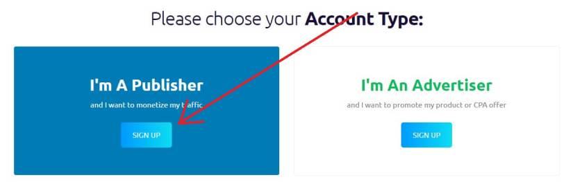 Choisir le type de compte Propeller Ads