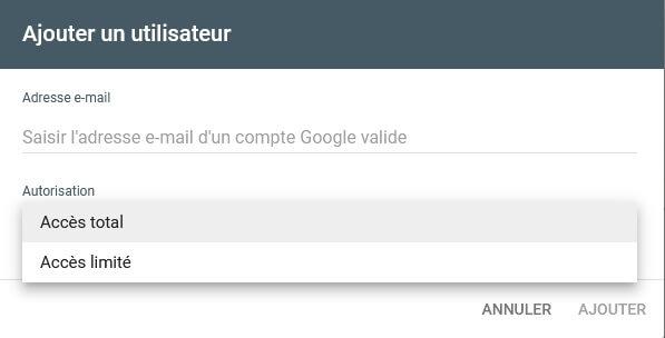 Un Utilisateur dans Google Search Console