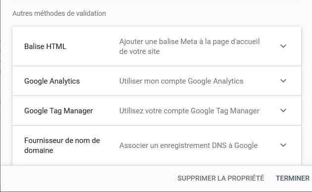 Autres méthodes de validation du compte Google Search Console