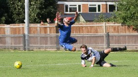 Billy's brought down at Molesey, but wins a red card, not a penalty