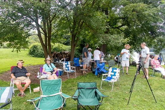 Photo Club Solar Eclipse Party in Rebecca Mohr's backyard on banks of Susquehanna River, August 21, 2017