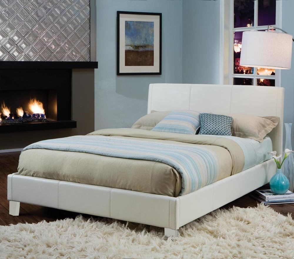 New York White Upholstered Bed by Standard  Lewis Furniture Store