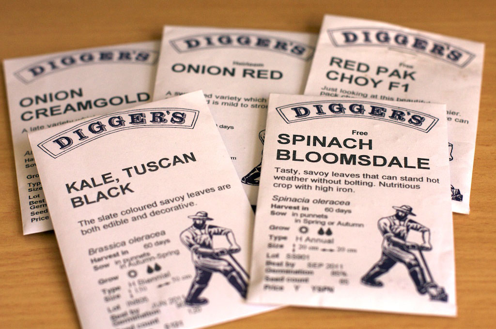 Seed packets from Diggers Club