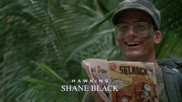 THE PREDATOR director Shane Black as Hawkins in PREDATOR
