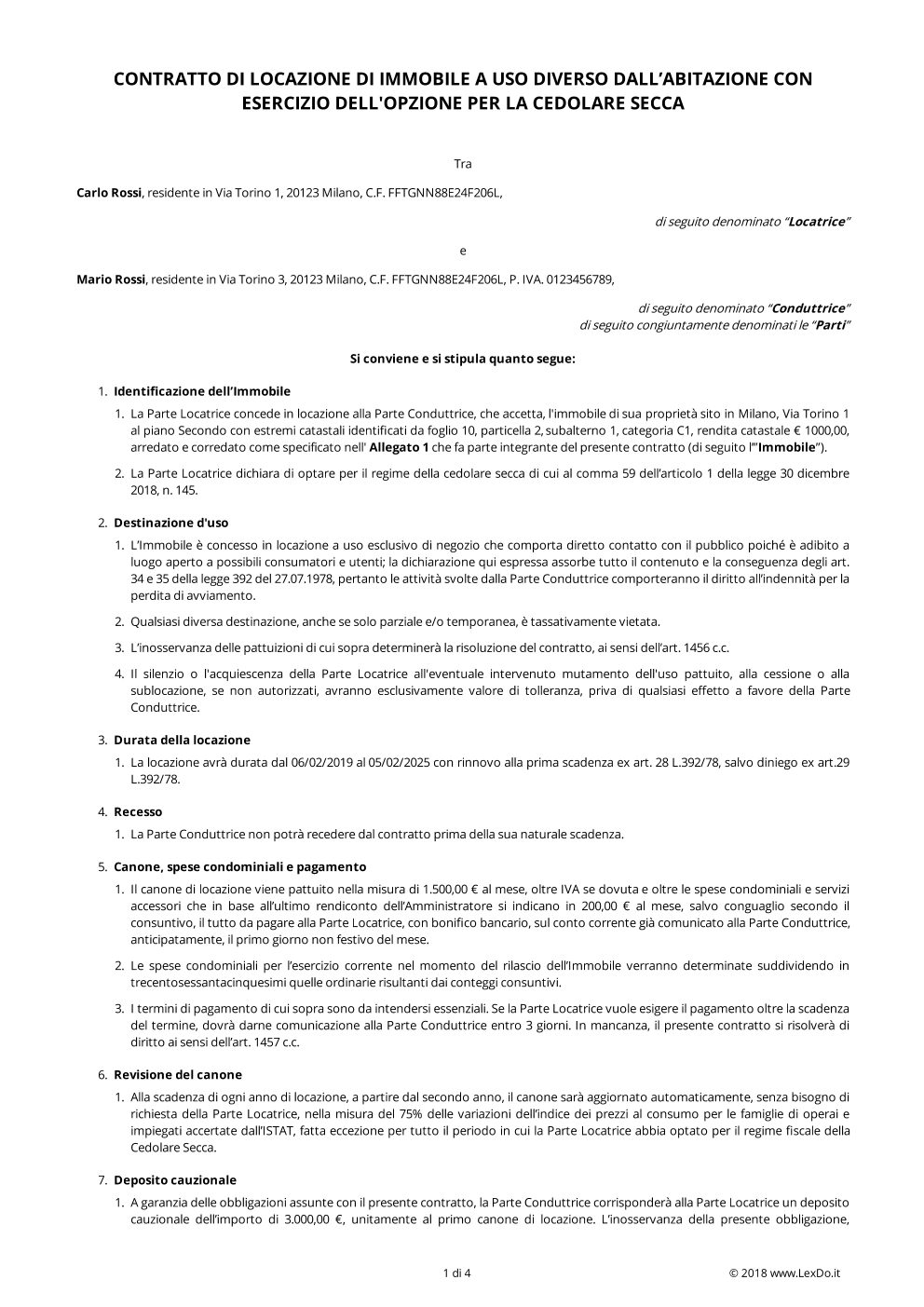 Contratto Di Locazione Commerciale Con Cedolare Secca