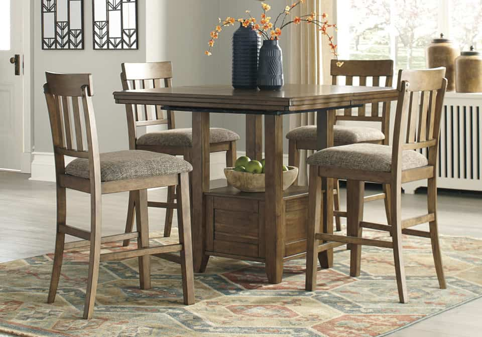 Flaybern Light Brown 5PC Counter Height Dining Set