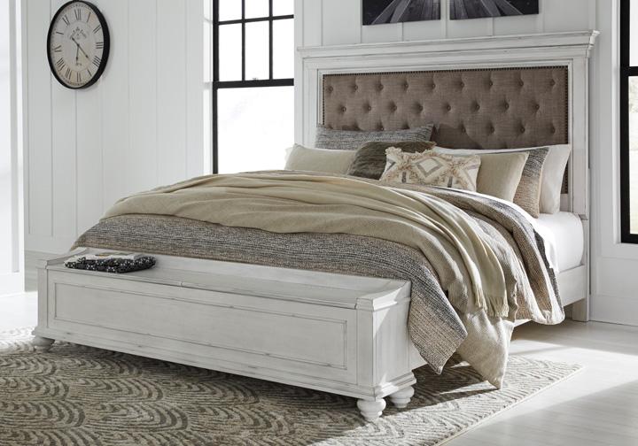 Kanwyn Whitewash Upholstered Queen Panel Storage Bedroom