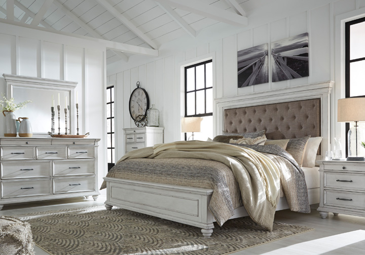 Kanwyn Whitewash Upholstered Queen Panel Storage Bedroom Set Lexington Overstock Warehouse