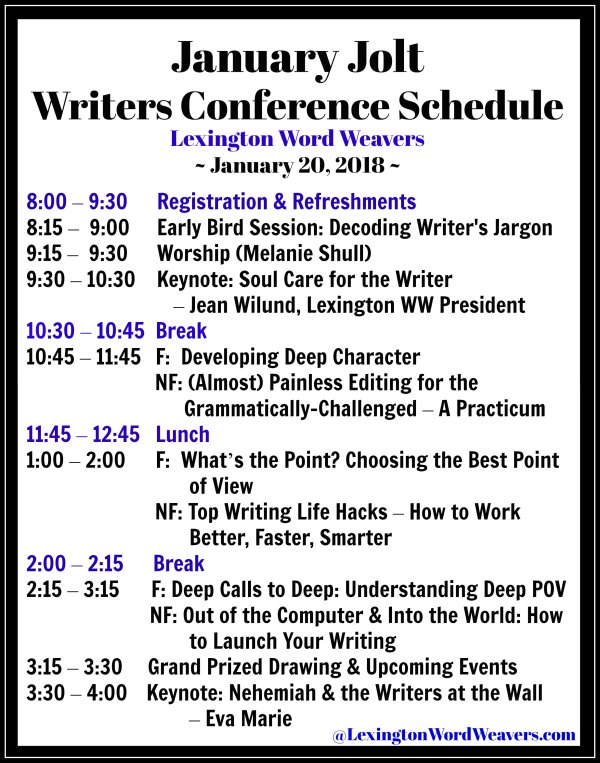 Schedule Lexington Word Weavers JanuaryJolt 2018 Writers Conference