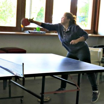 Vanessa playing in the Table Tennis Tournament