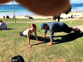 Push Ups at Main Beach