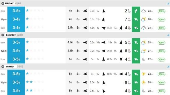 surf report feb 1-3