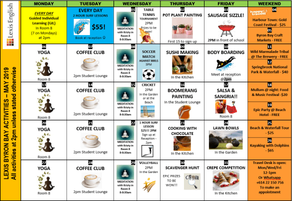 May actiity calendar