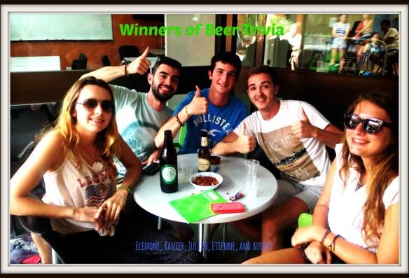 Winners of beer trivia