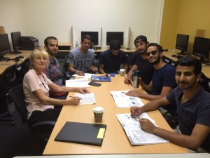 Becky with Faisal, Hisham, Salem, Ziyad, Mesfer, Fawaz, Faisal and Musab