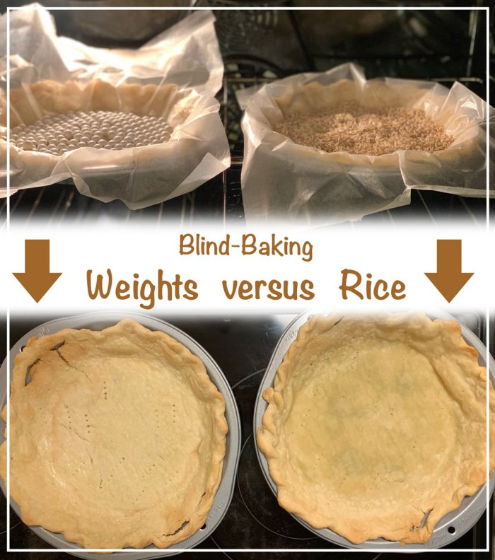 """The difference of blind-baking a pie crust with """"Baking Beans""""/Pie Weights versus Rice."""