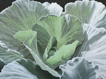 Cabbage leaves glowing with backlighting, painted in acrylics